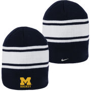 Nike University of Michigan Hockey Navy Swoosh Stripe Knit Beanie Hat