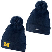 Nike University of Michigan Navy Swoosh Cuffed Pom Knit Hat