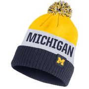 Nike University of Michigan Navy/ Yellow/ White Striped Pom Knit Hat