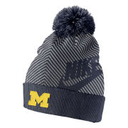 Nike University of Michigan Navy/ Gray Futura Cuffed Pom Knit Hat