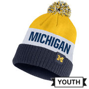 Nike University of Michigan Youth Classic Striped Cuffed Pom Knit Hat