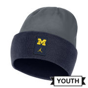 Jordan University of Michigan Football Youth Navy/Gray Sideline Dri-FIT Cuffed Knit Beanie Hat