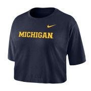 Nike University of Michigan Women's Navy Dri-FIT Cotton Basic Crop Tee