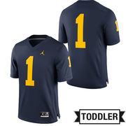 Jordan University of Michigan Football Toddler Navy #1 Game Jersey
