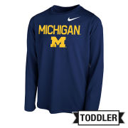 Nike University of Michigan Toddler Navy Long Sleeve Dri-FIT Legend Core Tee