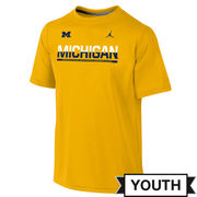 Jordan University of Michigan Football Youth Yellow Dri-FIT Legend Staff Tee