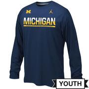 Jordan University of Michigan Football Youth Navy Long Sleeve Dri-FIT Legend Staff Tee