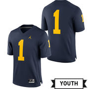 Jordan University of Michigan Football Youth Navy #1 Game Jersey