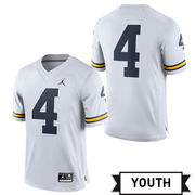 Jordan University of Michigan Football Youth White #4 Game Jersey