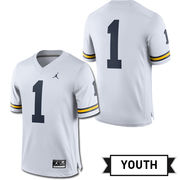 Jordan University of Michigan Football Youth White #1 Game Jersey