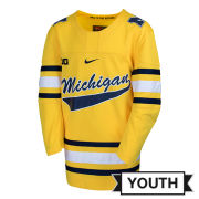 Nike University of Michigan Hockey Youth Yellow Replica Jersey