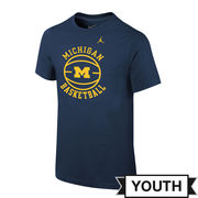 Jordan University of Michigan Basketball Youth Navy Roundball Tee