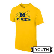Jordan University of Michigan Basketball Youth Yellow Sport Tee