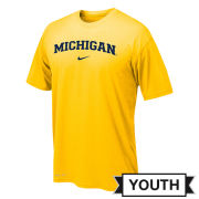 Nike University of Michigan Youth Yellow Basic Dri-FIT Legend Tee