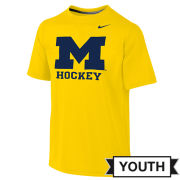 Jordan University of Michigan Hockey Youth Maize Dri-FIT Legend Logo Tee