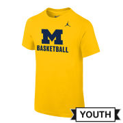 Jordan University of Michigan Basketball Youth Yellow Logo Tee