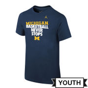 Jordan University of Michigan Basketball Youth Navy ''Never Stops'' Tee