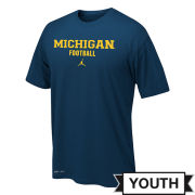 Jordan University of Michigan Football Youth Navy Dri-FIT Legend Basic Tee