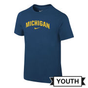 Nike University of Michigan Youth Navy Basic Arch ''Michigan'' Tee