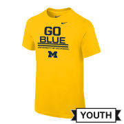 Nike University of Michigan Youth Yellow ''Go Blue'' Tee