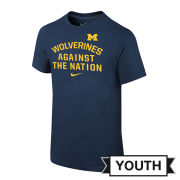 Nike University of Michigan Youth Navy ''Wolverines Against The Nation'' Tee