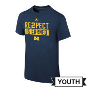 Jordan University of Michigan Youth Navy ''Re2pect Is Earned'' Tee