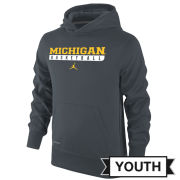 Jordan University of Michigan Basketball Youth Anthracite Hooded Sweatshirt