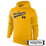 Nike University of Michigan Hockey Youth Yellow Therma-FIT Hooded Sweatshirt
