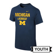 Nike University of Michigan Lacrosse Youth Navy Tee