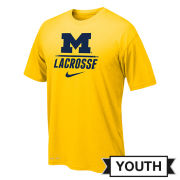 Nike University of Michigan Lacrosse Youth Yellow ''Speed Line'' Dri-FIT Legend Tee