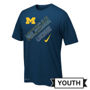 Nike University of Michigan Lacrosse Youth Navy Dri-FIT Legend Tee