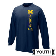Nike University of Michigan Lacrosse Youth Navy Long Sleeve Tee
