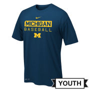 Nike University of Michigan Baseball Youth Navy Team Issue Dri-FIT Legend Tee