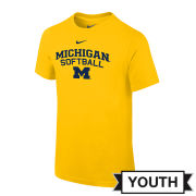 Nike University of Michigan Softball Youth Yellow Logo Tee