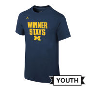 Jordan University of Michigan Youth Navy Short Sleeve Winner Stays Tee