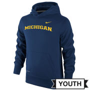Nike University of Michigan Youth Navy Basic Therma-FIT Hooded Sweatshirt