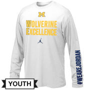 Jordan University of Michigan Basketball Youth White Long Sleeve ''Mentality'' Tee
