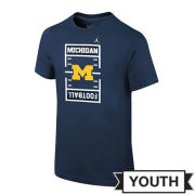 Jordan University of Michigan Football Youth Navy JDI Field Tee