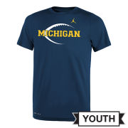 Jordan University of Michigan Football Youth Navy Dri-FIT Legend Icon Tee