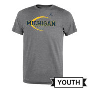Jordan University of Michigan Football Youth Gray Dri-FIT Legend Icon Tee