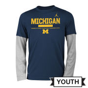 Jordan University of Michigan Football Youth Navy and Gray Faux Layered Long Sleeve Dri-FIT Legend Staff Sideline Tee