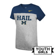 Nike University of Michigan Youth Girls Gray/Navy Color Block ''HAIL'' V-Neck Tee