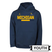 Jordan University of Michigan Football Youth Navy Colorblock DNA Therma-FIT Hooded Sweatshirt