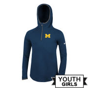 Nike University of Michigan Youth Girls Navy Dri-FIT Element 1/4 Zip Pullover Hood