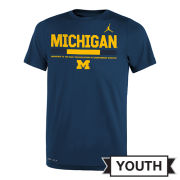 Jordan University of Michigan Football Youth Navy Dri-FIT Legend Staff Sideline DNA Tee