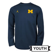 Jordan University of Michigan Football Youth Navy Modern Crewneck Sweatshirt