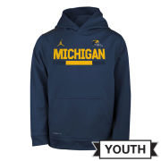 Jordan University of Michigan Football Youth Navy Staff Sideline Therma-FIT Hooded Sweatshirt