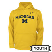 Nike University of Michigan Youth Yellow Therma-FIT Hooded Sweatshirt