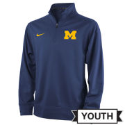 Nike University of Michigan Youth Navy Therma-FIT 1/4 Zip Pullover