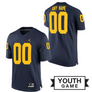 Jordan University of Michigan Football Youth Navy Custom Game Jersey